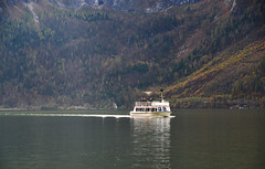 Touristic ship on Hallstatt Lake, Austria (phuong.sg@gmail.com) Tags: alpine alps attraction austria austrian autumn blue boat church city europe fall hallstatt heritage historic lake land landmark landscape morning mountains nature old outdoor reflection salzburg salzkammergut scenery see ship site sky sunrise tourism tourist town travel trees unesco upper vacation view village water