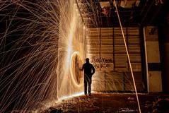 steel wool (michelscorey) Tags: steelwool spinningsteelwool seelwoolphotography lightpainting fire abandoned nj