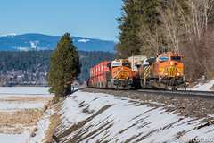 Good Rollby (evanlofback) Tags: railroadbnsf kootenairiversub enginebnsf sunny winter snow bnsf5125 bnsf8104 c449w h2 gevo h3 dpu meet bonnersferry mountains people