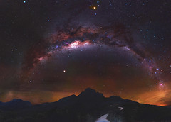 Milky Way at the Stirling Ranges National Park, Western Australia (inefekt69) Tags: stirling ranges bluff knoll panorama stitched mosaic milkyway cosmology southern hemisphere cosmos westernaustralia australia dslr long exposure rural night photography nikon stars astronomy space galaxy astrophotography outdoor milky way ancient sky 50mm d5500 nebula eta carinae carina coal sack airglow ptgui wide field crux mars hoya red intensifier didymium