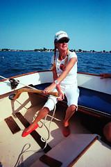 LN at the Helm (JBAdams) Tags: leica leicamp 21elmaritasph portra400 kodak film analog manualfocus availablelight sailing sailboat yachting woman sea ocean 35mmfilm maine mainecoast cascobay harpswell
