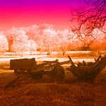 Farm implements Digswell Park Road  - duotone and infra red print by Derek Dewey-Leader