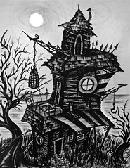 A Sense of Insufferable Gloom (Skyler Brown Art) Tags: angst architecture art artwork bw blackwhite blackandwhite charcoal creepy dark darkness drawing goth gothic graphite greyscale house industrial ink macabre ominous paper pen pencil tree