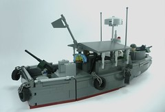 USN Patrol River Boat Mk.II (2) (Lonnie.96) Tags: lego brick block piece moc own creation model scale real design 1 day 2019 brickvention bv19 mk ii patrol boat river vietnam pbr viet cong usn united states navy us 1967 67 north south vietnamese army delta jet shallow grey dark light red radar flag tire minifig 50 caliber m2 barrel roof stars stripes mount turret twin antenna hull fiberglass m16 law rifle m72 mechanic gunner