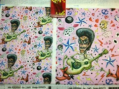 """""""Rockabilly Bone Daddy Crush"""", pink version, large and small scale fabric test swatches. My original design created with graphite pencils and pastel pencils. (sassyone2013) Tags: americana rockabilly psychobilly pastel pencils graphite pin up girls skeleton skull guitar rock roll n music fabric sewing blue turquoise hand drawn tattoo stars punk hearts swallows birds textile design wallpaper wrapping cartoon animation quirky creepy whimsical fun cute bone daddy guy guys musician dice cards indie art quilting textiles 1950s fashion style drawing illustration people photoadd pink"""