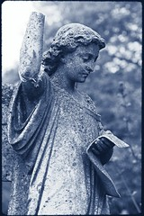 Armless (Alex . Wendes) Tags: digitalcyanotype armless angel statue graveyard blue d50 nikond50
