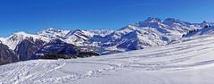 Panoramique sur le lac de Roselend - Beaufortain (Lumières Alpines) Tags: didier bonfils goodson goodson73 dgoodson lumieres alpines montagne mountain europa outside france francia alpes alps skiing alpine alpini snow neige beaufortain roche parstire ski rando