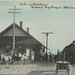 SW Cedar Springs MI DEPOT 1911 GR&I Grand Rapids and Indiana Railroad Train Arriving Horse-Drawn Taxi and Freight Wagons at the ready Kent County