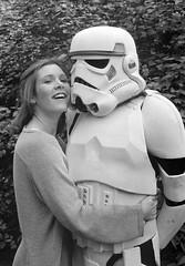 Carrie Fisher promoting The Empire Strikes Back (1980) in London, May 23, 1980, photo by Dave Caulkin (gameraboy) Tags: carriefisher stormtrooper starwars vintage theempirestrikesback empirestrikesback film movie press davecaulkin 1980 1980s