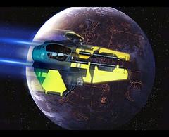 Eta-2 flying over Coruscant (Veynom) Tags: starwars lego moc jedi starfighter eta2 actis