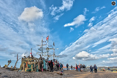 A Pearl of a day. (alundisleyimages@gmail.com) Tags: theblackpearlnewbrighton pirateship driftwoodship art pirates wirral newbrighton attraction people rivermersey liverpool beach bunting flags rope sand weather climatechange tourism ports harbours cranes seaforthcontainerterminal