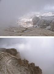 tiny people (With The Crash Of Each Wave) Tags: piz boè dolomites dolomiti fog people high mist rocks mountains