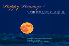 Happy Holidays with a Rising Solstice Full Moon (Amazing Sky Photography) Tags: fullmoon rising wintersolstice prairie refraction greenrim redrim dispersion twilight christmas moon ruleofthirds composition alberta snow happyholidays