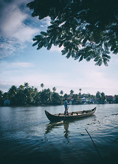 .. row, row, row your boat .. (vjsankar) Tags: canon canon500d pulinkunnu kerala boat boatman morning