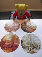 Don't look much like pizza toppin'... (pefkosmad) Tags: jigsaw puzzle hobby leisure pastime art fineart painting webbivory vintage thefourseasons round circular setoffour jodocusdemomper flemish seasons complete used secondhand christmas december teddy bear ted tedricstudmuffin animal toy cute cuddly fluffy plush soft stuffed