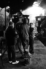 Warming in Darjeeling Shed (gooey_lewy) Tags: darjeeling himalayan mountain railway steam tour magazine india narrow gauge sharp stewart b class 040 tank saddle well loco locomotive train rail indian steep hill cart road west bengal charter dhr dhmr joy toy forest jungle sun light railroad tree people grass car engine shed station modern inquisitive driver looking mono black white focus crew