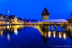Lucerne with the chapel bridge at the blue hour. Central Switzerland. (Werner_B) Tags: nikonz6 nikonz nikon photography landscape city dawn night blue lake bridge kapellbrücke schweiz bluehour switzerland lucerne luzern