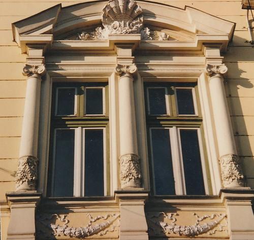 Fenêtres hongroises, art baroque, Budapest, Hongrie.
