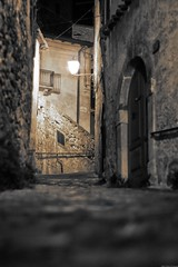 Exploring the alleys of Capestrano by night #5 (Mario Ottaviani Photography) Tags: sony sonyalpha italy italia paesaggio landscape travel adventure nature scenic exploration view vista breathtaking tranquil tranquility serene serenity calm marioottaviani viaggio avventura natura esplorazione excursion escursione capestrano abruzzo exploring alleys night esplorare vicoli notte monochrome monocromatico