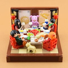 Year of the pig🐷 1/2 (Alex THELEGOFAN) Tags: lego legography minifigure minifigures minifig minifigurine minifigs minifigurines chinese new year table meal dresser food china moc vignette pig of the dog party lunar