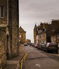 North Castle Street (retepmorton) Tags: saint st andrews fife scotland town castle street cars cloudy february f17 25mm panasonic gx80 gx85 gx7mk2 coast lumix m43