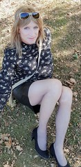 A spring day (Sometimes Emma) Tags: crossdresser genderfluid m2f transvestite tranny hair makeup blouse leather skirt tights heels happy feminine fun
