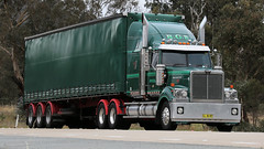 Green Tarps (1/2) (Jungle Jack Movements (ferroequinologist)) Tags: bowning nsw new south wales australia hume highway western star 4900 green tautliner t404 kenworth tarp hp horsepower big rig haul haulage freight cabover trucker drive transport carry delivery bulk lorry hgv wagon road nose semi trailer deliver cargo interstate articulated vehicle load freighter ship move roll motor engine power teamster truck tractor prime mover diesel injected driver cab cabin loud rumble beast wheel exhaust double b grunt
