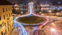 Painting Cars, Chain Bridge (BenedekM) Tags: budapest hungary bridge chainbridge cars painting lightpainting lights river city cityscape view panorama longexposure architecture building lamps nikond3200 d3200 sigma1750f28 sigma roundandround roads street nightphotography ships