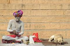 varanasi 2019 (gerben more) Tags: saddhu ashes dog man holyman varanasi benares india people portrait portret