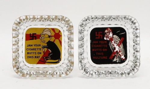 WWII Nazi-Japan propaganda ashtrays ($112.00)