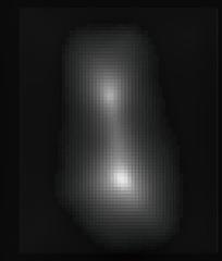 Blurry but Best Yet Image of Ultima Thule, variant (sjrankin) Tags: 2january2019 edited nasa newhorizons primage ultimathule grayscale 4869582014mu69 asteroid kuiperbelt contactbinary