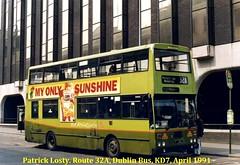 Route 32A, Middle Abbey Street to Malahide, Dublin Bus, KD7, April 1991 (Shamrock 105) Tags: dublin dublinbus bombardier kd7 clontarfgarage lowerabbeystreet malahide busathacliath route32a kelloggscornflakes