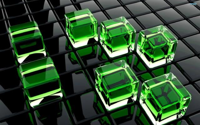Обои кубы, стекло, поверхность, зеленый картинки на рабочий стол, фото скачать бесплатно