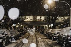 Arrivals (aerojad) Tags: eos canon 80d dslr 2019 chicago urban snow snowing winter february bokeh snowkeh outdoors city cta train traintracks night nightphotography nightscape winterscape snowscape