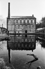 Gibson Mill (Richie Rue) Tags: nationaltrust mill millpond reflection yorkshire uk halifax calderdale monochrome blackandwhite bnw film analogue 35mm foma fomafomapan200 promicrol minolta dynax 800si mindfulphotography contemplativephotography outdoors