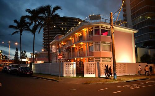 Pink Hotel after dark