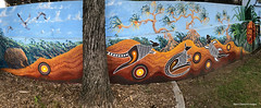 Brolga, Echidna, Kangaroos, Goanna & Pandanus - Ages of the Tweed Mural, Commercial Rd, Murwillumbah, NSW (Black Diamond Images) Tags: agesofthetweedmural jurassic jurassicperiod megafauna earthlearning mural art painting floodmitigationwall commercialrd murwillumbah nsw murwillumbahartstrail appleiphone7plus iphone7plusbackdualcamera iphone7plus phone7plus iphone appleiphonepanorama panorama iphonepanorama appleiphone7pluspanorama pandanustectorius pandanus pandanaceae antigone antigonerubicunda brolga