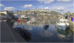 Inner_Harbour_Panorama1 (Roger Brown (General)) Tags: mevagissey nestles small valley faces east bay inner outer harbours busy mixture pleasure vessels working fishing boats major industry village centre consists narrow streets eat shops aimed tourist trade first recorded mention dates from 1313 porthhilly evidence settlement dating back bronze age roger brown canon 7d sigma 18250mm