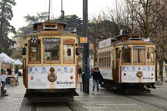 In the middle of two trams (Eduardo Vales) Tags: nikonflickraward porto portugal trams