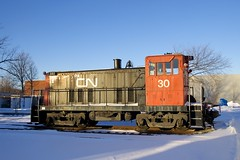 Snow and sun (Michael Berry Railfan) Tags: cn30 ge generalelectric exporail canadianrailwaymuseum stconstant quebec 70tonner