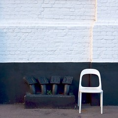 Take a seat.... (No Great Hurry) Tags: restawhile seat simple square minimalism minimal robinmauricebarr brickwork wall abstract blackandwhite nogreathurry chair london noiretblanc urbanabstract x100f