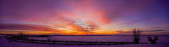 Standley Lake Sunrise - Colorado (Bernie Duhamel) Tags: standleylake westminster colorado frontrange greatphotographers teamsony rockymountains bernie duhamel sonya7riii sony2470mm sunrise clouds panorama morning frigid sun winter fence silhouette lake ice snow dam reservoir trees