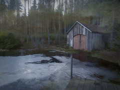 old Boathouse (judmac1) Tags: boathouse loch ice trees winter building jetty