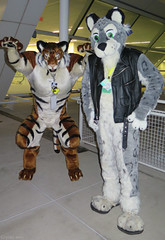 Ralkor and Flake (Coyoty) Tags: anthrocon2015 davidllawrenceconventioncenter pittsburgh pennsylvania pa anthrocon anthropomorphics anthropomorphic furry fandom fun furries fursuit furryfandom convention costumes cosplay mascot tiger snowleopard leopard ralkor flake people