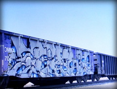 (timetomakethepasta) Tags: tiket etc freight train graffiti art gondola omnx