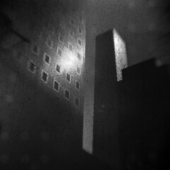 Midtown #3 (LowerDarnley) Tags: browniehawkeyeflash kodak flippedlens expiredfilm dandipan 620film nyc newyorkcity manhattan buildings skyscraper urban urbanlandscape reflection sun backingpaper