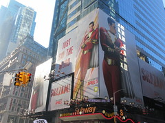 Shazam The Big Red Cheese Billboard 42nd St NYC 4338 (Brechtbug) Tags: shazam billboard 42nd street new captain marvel the big red cheese poster ad nyc 2019 times square movie billboards york city work working worker paint painting advertisement dc comic comics hero superhero alien dark knight bat adventure national periodicals publication book character near broadway shield s insignia blue forty second st fortysecond 03202019 lightning flight flying march