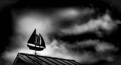 At the Boat Launch:  Setting Sail into the Storm (JDS Fine Art Photography) Tags: clouds weather nautical ships sailing bw monochrome