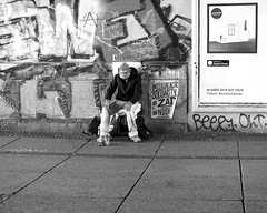 Intergalactic solidarity (Franco & Lia) Tags: street strasenfotografie fotografiadistrada photographiederue berlin berlino alexanderplatz deutschland germany germania biancoenero schwarzundweiss noiretblanc blackwhite beggar mendicante