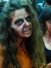 I Got a Dinner Invitation (Steve Taylor (Photography)) Tags: orange women newzealand nz southisland canterbury christchurch blur armageddonexpo bleeding blood makeup zombie dripping